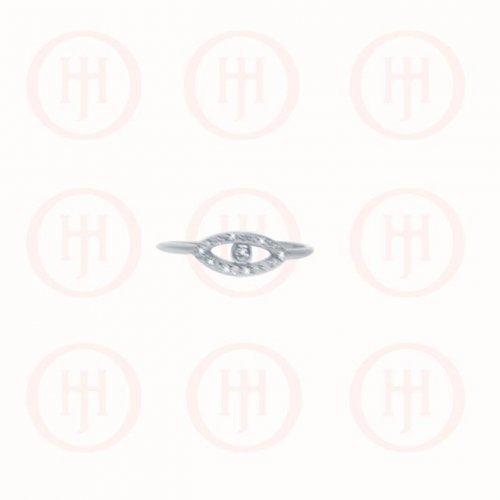 Silver Rhodium Plated CZ Evil Eye Ring (R-1270)