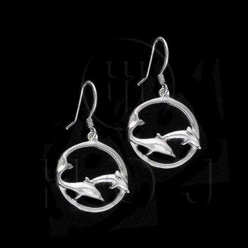 Silver Plain Dangle Earrings Dolphin (ED2432)
