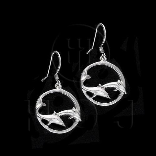 Silver Plain Dangle Earrings Dolphin (ED2432)