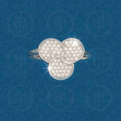 Silver Two Ringed Chain CZ Ring (R-1265)