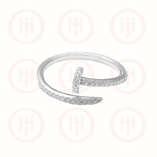 Silver CZ Carpenter Ring (R-1188)