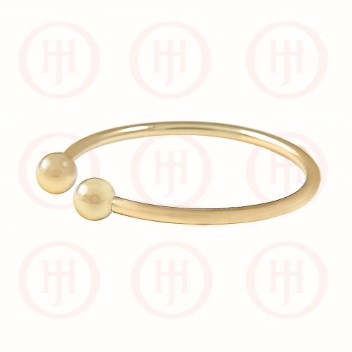 Silver Plain Ball Cuff Ring Gold Plated (R-1243-G)