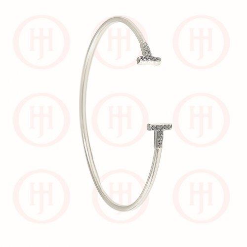 Sterling Silver CZ Tiffany Inspired T-Bone Cuff Bangle (IB-1053)