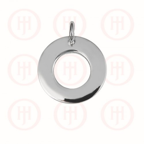Silver Round Dog-Tag Pendant 15mm (DT-C-114)