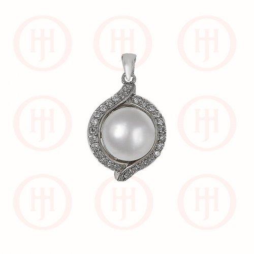 Silver Plain Pearl CZ Pendant  (P-1230)