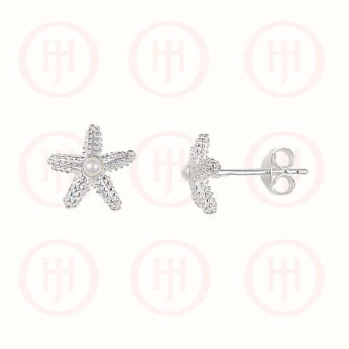 Silver CZ Starfish Pearl Stud Earrings (ST-1029)