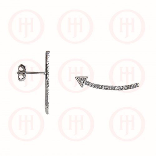 Silver CZ Arrow Ear Climber Earring (ER-1174)