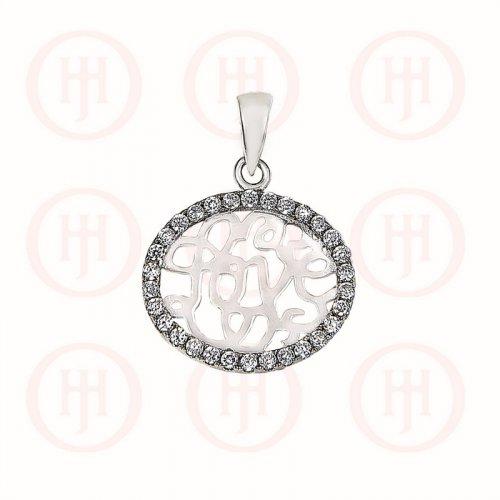 Silver CZ Love Cursive Pendant (P-1221)