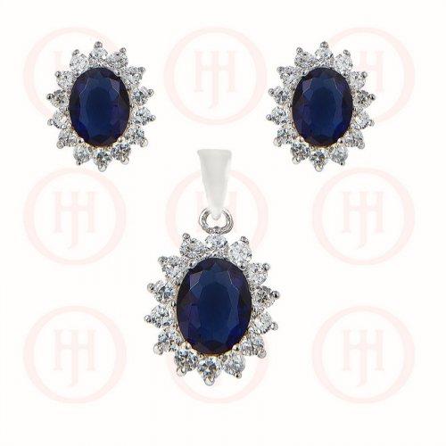 Silver CZ Royal Wedding Inspired Earrings Pendant Set (Sapphire)(PS-1024-S)