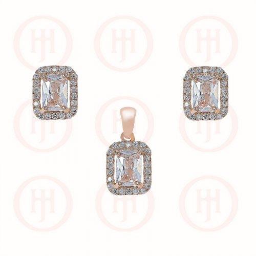 Silver Rectangle Halo Earrings Pendant Set (PS-1029)