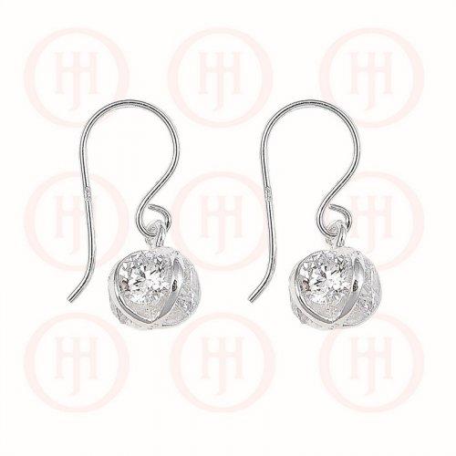 Silver CZ in X Ball Dangle Earrings (ER-1131)