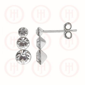 Silver Triple Round CZ Stud Earrings (ER-1127)