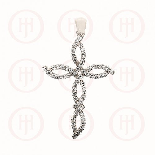 Silver Religious CZ Twisted Cross Pendant (CR-1062)