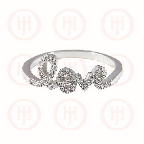 Silver CZ Love Ring (R-1006)