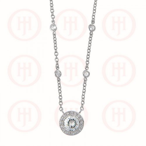 Silver Tiffany Inspired CZ by the Yard with CZ Pendant Rhodium Plated Necklace (N-1139)