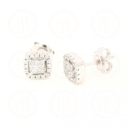 Silver Square CZ Halo Stud Earrings (ST-1107)