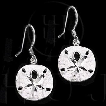 Silver Plain Dangle Sand Dollar Earrings (ED3186)