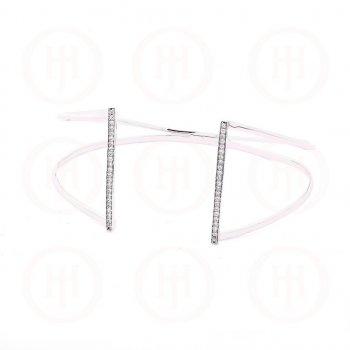 Sterling Silver CZ Open Vertical Bar Cuff Bangle (IB-1012)