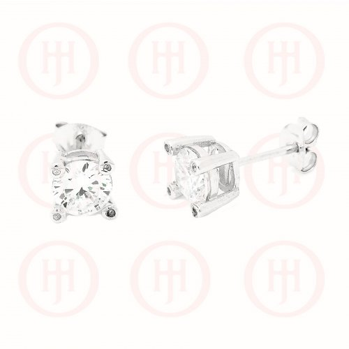 Silver Single CZ Stone Stud Earring (ST-1106)
