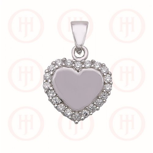Silver CZ Edged Heart Pendant (P-1296)