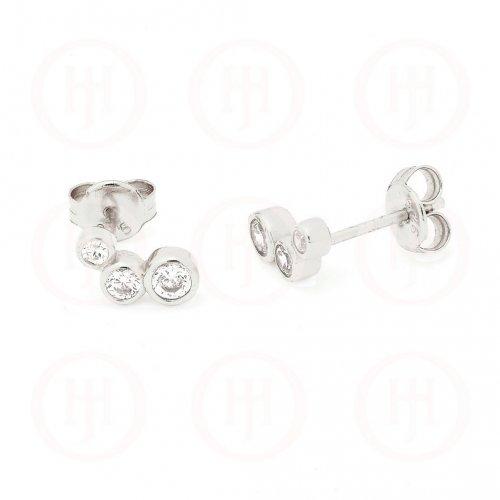 Sterling Silver Assorted CZ Triple Bezel Stud Earrings (ST-1163)