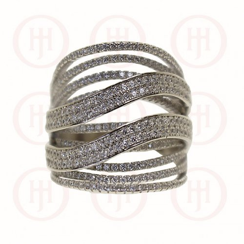 Silver Two Waves & Rungs CZ Ring (R-1248)