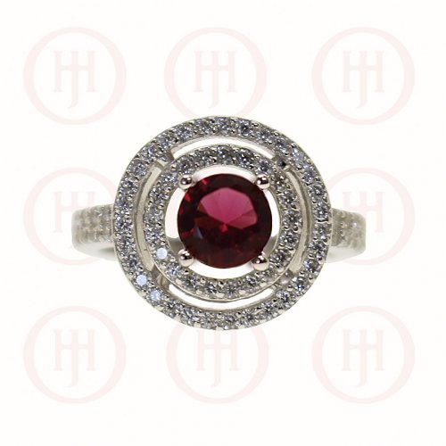 Silver Double Halo & CZ Band Garnet Stone Ring (R-1263-G)