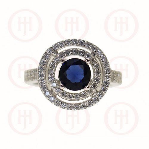 Silver Double Halo & CZ Sapphire Band Ring (R-1263-S)