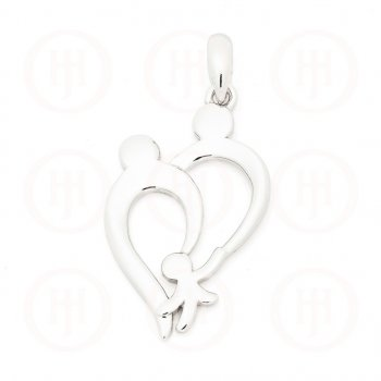 Plain Sterling Silver Parents and Child Family Pendant (P-1297)