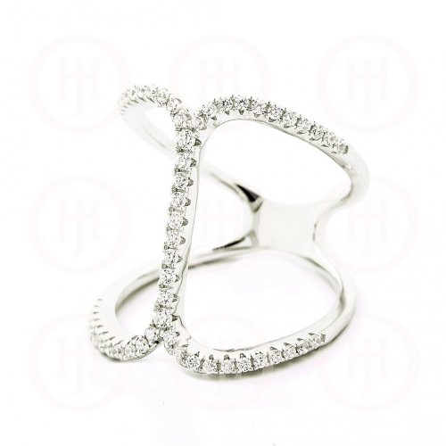 Silver Trendy CZ Ring (R-1322)