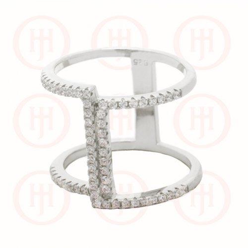 Silver Trendy CZ Ring (R-1323)