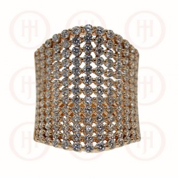 Silver Rose Colour Plated Concave Pave CZ Ring (R-1279-R)