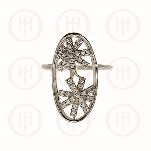 Silver Two Flower CZ Finger Ring (R-1303)