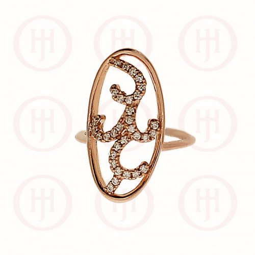 Silver Two Flower CZ Finger Ring Rose Gold Plated (R-1303-R)