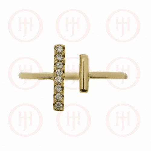 Silver Gold Plated Imbalance Double Bar Cuff CZ & Plain Ring (R-1306-G)