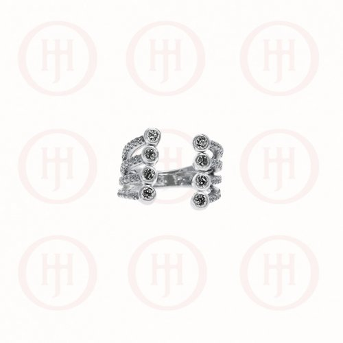 Silver CZ Layered Cuff Double Bezel Ring (R-1308)