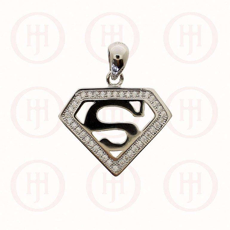 Silver Cz Superman Pendant P 1282 House Of Jewellery