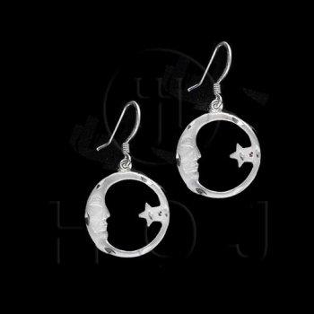 Silver Plain Dangle Earrings Moon (ED3740)