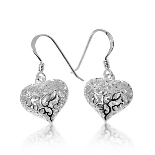 Silver Plain Heart Puff Dangle Earrings (ER-1050)