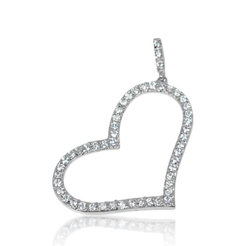 Silver CZ Assorted Open Heart Pendant (P-1263)