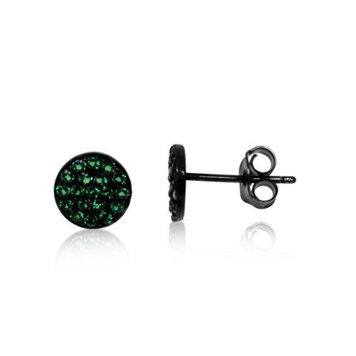 Silver Green CZ Round Stud Earring (ST-1097-GR)