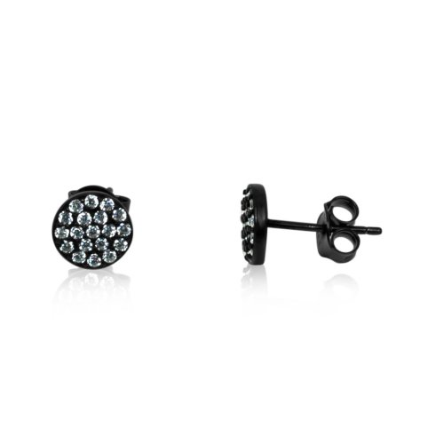 Silver White CZ Round Stud Earring (ST-1097-W)