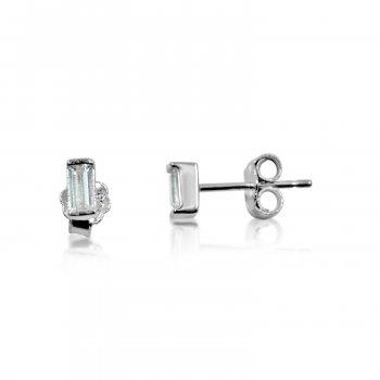 Silver Plain Rectangular Stud Earrings (ST-1100)