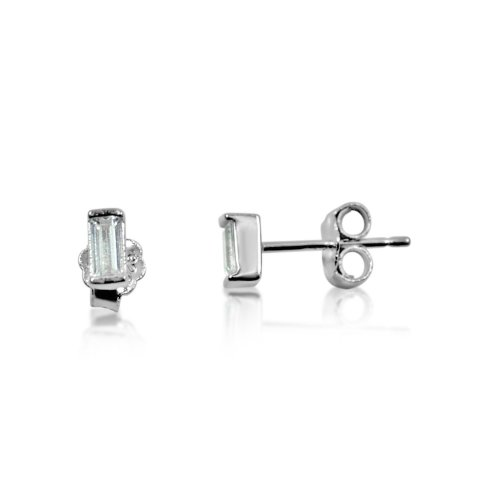 Silver Plain Rectangular Stud Earrings (ST-1100)
