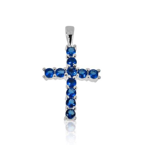 Silver Cubic Zirconia Religious Cross Pendant (CR-1019-S)