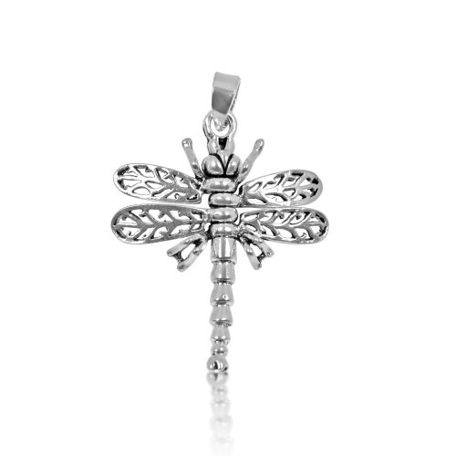 Silver Plain Assorted Dragonfly Pendant (P-1281)