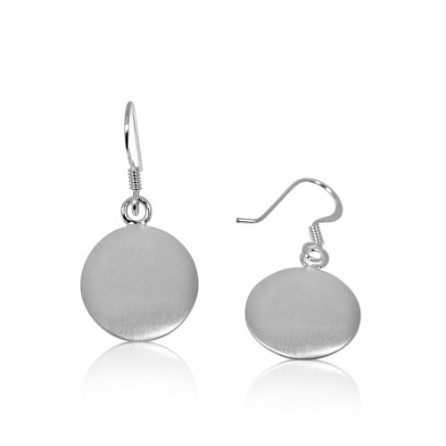 Plain Sterling Silver Satin-Finished Circle Dangle Earrings (ER-1047)