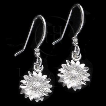 Silver Plain Dangle Earrings Flower (ED4340)