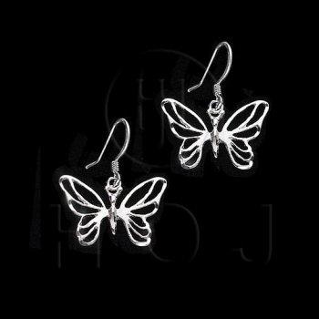 Silver Plain Dangle Earrings Butterfly (ED4352)