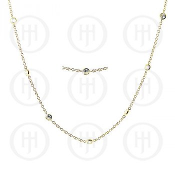 Sterling Silver Gold Plated Tiffany Inspired CZ by the Yard Necklace (N-1007-G)